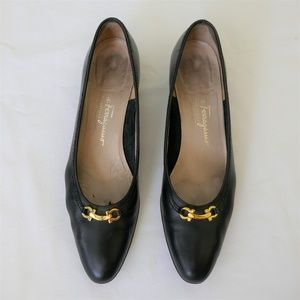 Ferragamo Black Block Heel Pumps 9AAAA